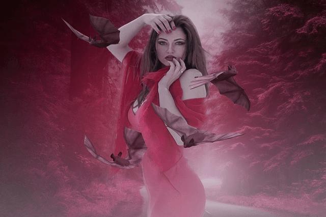 ピンクのドレスを着た魔性の女