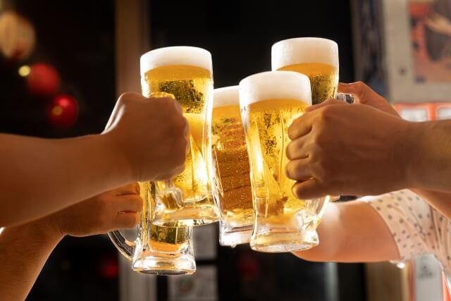ギャラ飲みでビール乾杯