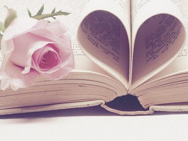 ピンクのバラとハートの本